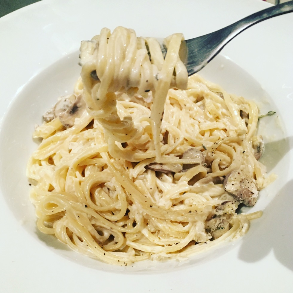 Creamy Mushroom Linguini vegetarian Pasta recipe The Jam Jar