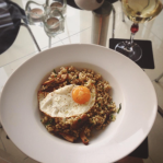 Wild mushroom pearl barley risotto with goats cheese and a fried egg recipe autumnal recipes