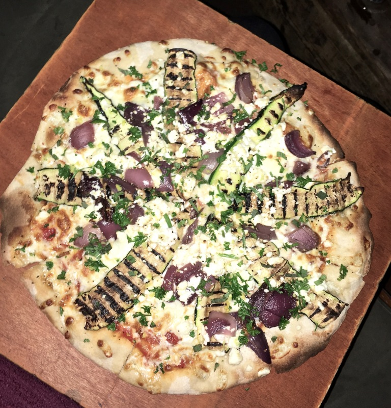 crate brewery hackney wick pizza london courgette, feta, red onion and gremolata