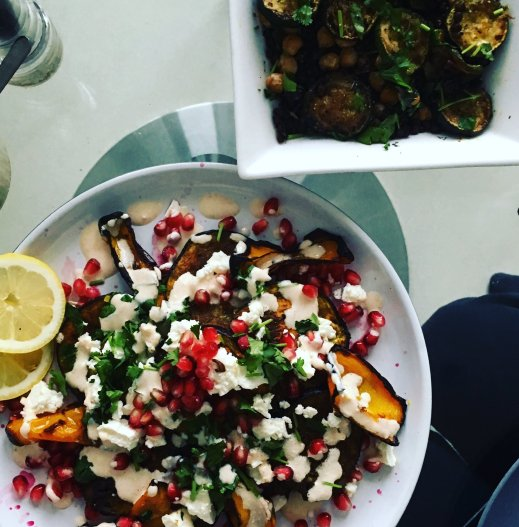 ras el hangout aubergine with a courgette and green lentil salad veggie barbecue vegetarian