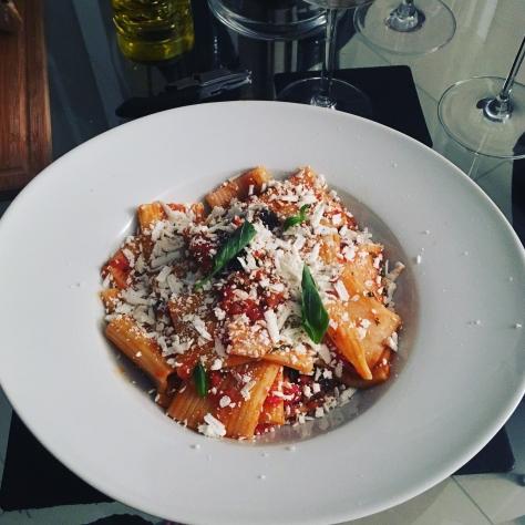 sicilian rigatoni alla norma vegetarian pasta recipe sicily aubergine ricotta salata Italian food The Jam Jar food blog veggie