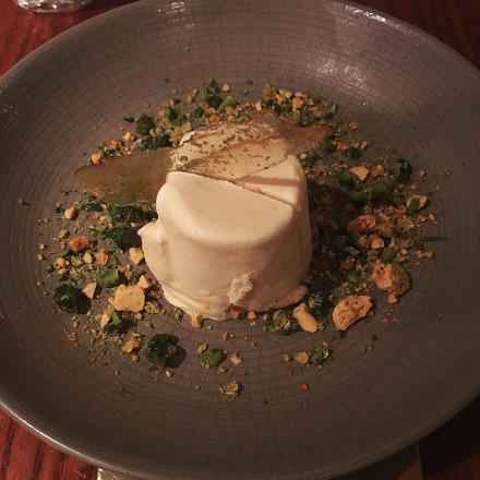 Royal Punjabi kulfi, honeycomb pistachio crumble